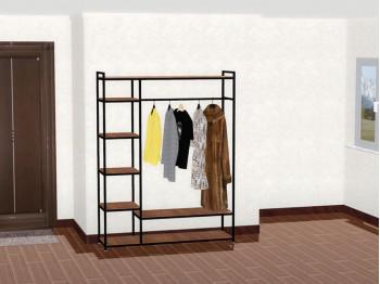 Мебель в прихожую. Вешалка-стеллаж для одежды в стиле ЛОФТ, напольная