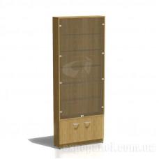 Торговый шкаф-витрина со стеклянными дверками и полками